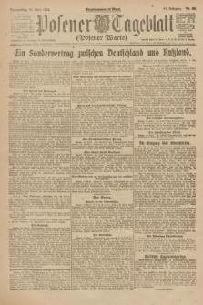 Posener Tageblatt (Posener Warte). Jg.61, Nr. 88 (20 April 1922) + dod.