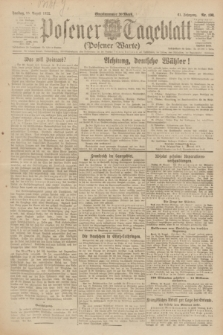Posener Tageblatt (Posener Warte). Jg.61, Nr. 190 (25 August 1922) + dod.