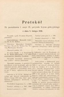 [Kadencja IX, sesja I, pos.78] Protokoły z I. Sesyi IX. Peryodu Sejmu Krajowego Królestwa Galicyi i Lodomeryi z Wielkiem Księstwem Krakowskiem w r. 1909 i 1910. T. 2. Protokół78