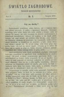 Światło Zagrobowe : dziennik spirytystyczny. R.2, nr 8 (sierpień 1870)