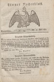 Thorner Wochenblatt. 1822, Nro. 14 (4 April)