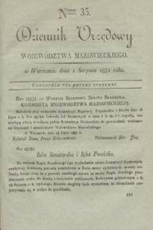 Dziennik Urzędowy Województwa Mazowieckiego. 1831, nr 35 (1 sierpnia) + dod.