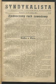 Syndykalista : Syndykalistyczne Porozumienie Powstańcze. R.1, nr 16 (25 września 1944)