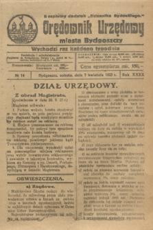 """Orędownik Urzędowy Miasta Bydgoszczy : bezpłatny dodatek """"Dziennika Bydgoskiego"""". R.40, № 14 (7 kwietnia 1923)"""