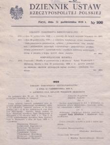 Dziennik Ustaw Rzeczypospolitej Polskiej. 1939, nr 100