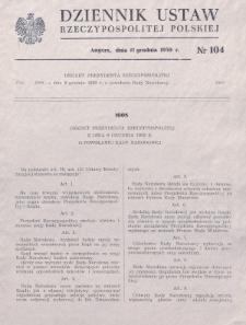 Dziennik Ustaw Rzeczypospolitej Polskiej. 1939, nr 104