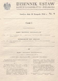 Dziennik Ustaw Rzeczypospolitej Polskiej. 1942, nr 9