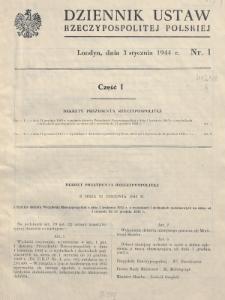 Dziennik Ustaw Rzeczypospolitej Polskiej. 1944, nr 1