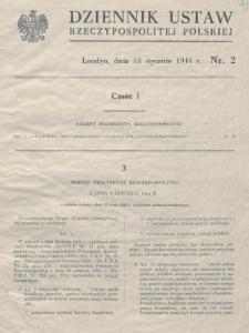 Dziennik Ustaw Rzeczypospolitej Polskiej. 1944, nr 2