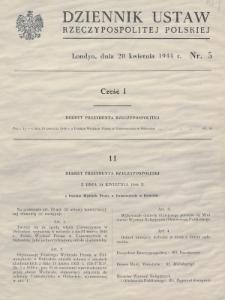 Dziennik Ustaw Rzeczypospolitej Polskiej. 1944, nr 5