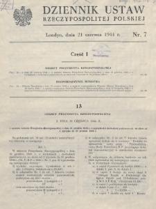 Dziennik Ustaw Rzeczypospolitej Polskiej. 1944, nr 7