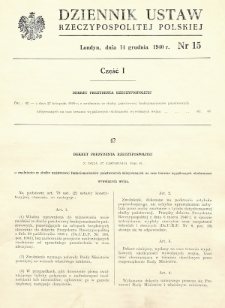 Dziennik Ustaw Rzeczypospolitej Polskiej. 1940, nr 15