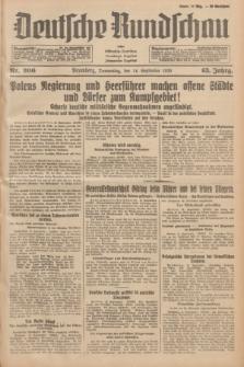 Deutsche Rundschau : früher Ostdeutsche Rundschau, Bromberger Tageblatt, Pommereller Tageblatt. Jg.63, Nr. 206 (14 September 1939) + dod.
