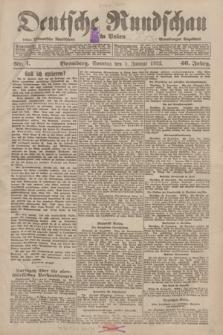 Deutsche Rundschau in Polen : früher Ostdeutsche Rundschau, Bromberger Tageblatt. Jg.46, Nr. 1 (1 Januar 1922) + dod.