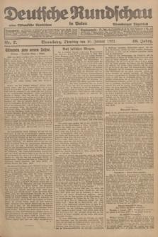 Deutsche Rundschau in Polen : früher Ostdeutsche Rundschau, Bromberger Tageblatt. Jg.46, Nr. 7 (10 Januar 1922) + dod.