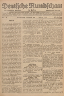 Deutsche Rundschau in Polen : früher Ostdeutsche Rundschau, Bromberger Tageblatt. Jg.46, Nr. 8 (11 Januar 1922) + dod.
