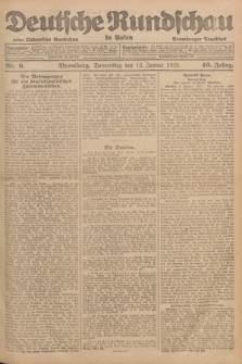 Deutsche Rundschau in Polen : früher Ostdeutsche Rundschau, Bromberger Tageblatt. Jg.46, Nr. 9 (12 Januar 1922)