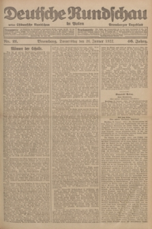 Deutsche Rundschau in Polen : früher Ostdeutsche Rundschau, Bromberger Tageblatt. Jg.46, Nr. 21 (26 Januar 1922) + dod.