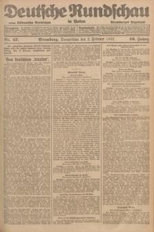 Deutsche Rundschau in Polen : früher Ostdeutsche Rundschau, Bromberger Tageblatt. Jg.46, Nr. 27 (2 Februar 1922) + dod.
