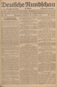 Deutsche Rundschau in Polen : früher Ostdeutsche Rundschau, Bromberger Tageblatt. Jg.46, Nr. 28 (4 Februar 1922) + dod.