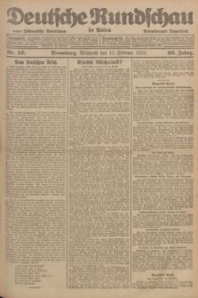 Deutsche Rundschau in Polen : früher Ostdeutsche Rundschau, Bromberger Tageblatt. Jg.46, Nr. 37 (15 Februar 1922) + dod.