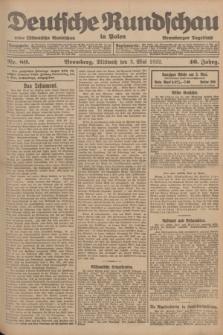 Deutsche Rundschau in Polen : früher Ostdeutsche Rundschau, Bromberger Tageblatt. Jg.46, Nr. 80 (3 Mai 1922) + dod.