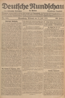 Deutsche Rundschau in Polen : früher Ostdeutsche Rundschau, Bromberger Tageblatt. Jg.46, Nr. 141 (19 Juli 1922) + dod.