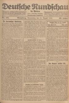 Deutsche Rundschau in Polen : früher Ostdeutsche Rundschau, Bromberger Tageblatt. Jg.46, Nr. 171 (24 August 1922) + dod.
