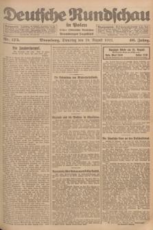 Deutsche Rundschau in Polen : früher Ostdeutsche Rundschau, Bromberger Tageblatt. Jg.46, Nr. 175 (29 August 1922) + dod.
