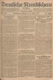 Deutsche Rundschau in Polen : früher Ostdeutsche Rundschau, Bromberger Tageblatt. Jg.46, Nr. 176 (30 August 1922) + dod.
