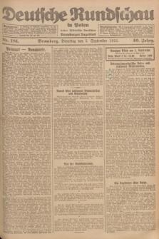 Deutsche Rundschau in Polen : früher Ostdeutsche Rundschau, Bromberger Tageblatt. Jg.46, Nr. 181 (5 September 1922) + dod.