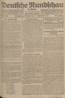 Deutsche Rundschau in Polen : früher Ostdeutsche Rundschau, Bromberger Tageblatt. Jg.46, Nr. 200 (27 September 1922) + dod.