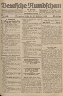 Deutsche Rundschau in Polen : früher Ostdeutsche Rundschau, Bromberger Tageblatt. Jg.46, Nr. 202 (29 September 1922) + dod.