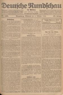Deutsche Rundschau in Polen : früher Ostdeutsche Rundschau, Bromberger Tageblatt. Jg.46, Nr. 206 (4 Oktober 1922) + dod.