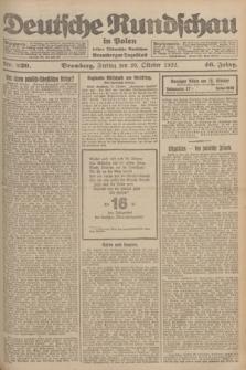 Deutsche Rundschau in Polen : früher Ostdeutsche Rundschau, Bromberger Tageblatt. Jg.46, Nr. 220 (20 Oktober 1922) + dod.