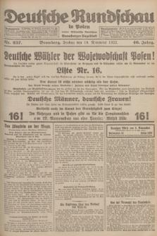 Deutsche Rundschau in Polen : früher Ostdeutsche Rundschau, Bromberger Tageblatt. Jg.46, Nr. 237 (10 November 1922) + dod.