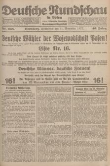 Deutsche Rundschau in Polen : früher Ostdeutsche Rundschau, Bromberger Tageblatt. Jg.46, Nr. 238 (11 November 1922) + dod.