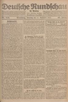 Deutsche Rundschau in Polen : früher Ostdeutsche Rundschau, Bromberger Tageblatt. Jg.46, Nr. 246 (21 November 1922) + dod.