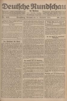 Deutsche Rundschau in Polen : früher Ostdeutsche Rundschau, Bromberger Tageblatt. Jg.46, Nr. 247 (22 November 1922) + dod.