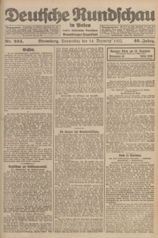 Deutsche Rundschau in Polen : früher Ostdeutsche Rundschau, Bromberger Tageblatt. Jg.46, Nr. 264 (14 Dezember 1922) + dod.