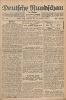 Deutsche Rundschau in Polen : früher Ostdeutsche Rundschau, Bromberger Tageblatt. Jg.49, Nr. 46 (25 Februar 1925) + dod.