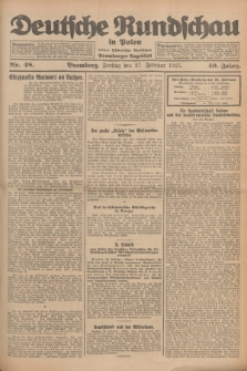 Deutsche Rundschau in Polen : früher Ostdeutsche Rundschau, Bromberger Tageblatt. Jg.49, Nr. 48 (27 Februar 1925) + dod.
