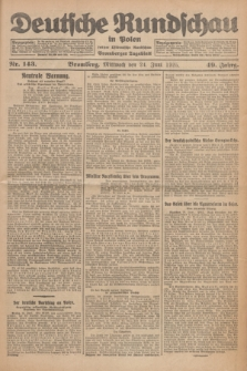 Deutsche Rundschau in Polen : früher Ostdeutsche Rundschau, Bromberger Tageblatt. Jg.49, Nr. 143 (24 Juni 1925) + dod.