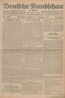 Deutsche Rundschau in Polen : früher Ostdeutsche Rundschau, Bromberger Tageblatt. Jg.49, Nr. 206 (6 September 1925) + dod.
