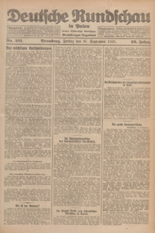 Deutsche Rundschau in Polen : früher Ostdeutsche Rundschau, Bromberger Tageblatt. Jg.49, Nr. 221 (25 September 1925) + dod.