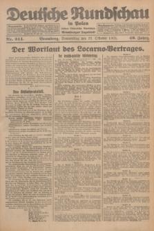 Deutsche Rundschau in Polen : früher Ostdeutsche Rundschau, Bromberger Tageblatt. Jg.49, Nr. 244 (22 Oktober 1925) + dod.
