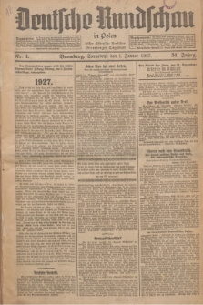 Deutsche Rundschau in Polen : früher Ostdeutsche Rundschau, Bromberger Tageblatt. Jg.51, Nr. 1 (1 Januar 1927) + dod.