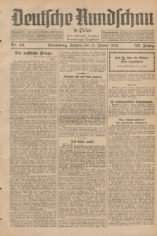 Deutsche Rundschau in Polen : früher Ostdeutsche Rundschau, Bromberger Tageblatt. Jg.52, Nr. 12 (15 Januar 1928) + dod.