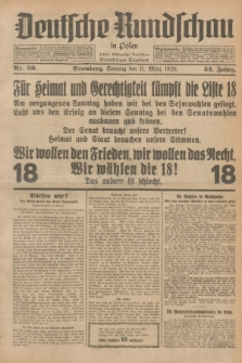 Deutsche Rundschau in Polen : früher Ostdeutsche Rundschau, Bromberger Tageblatt. Jg.52, Nr. 59 (11 März 1928) + dod.