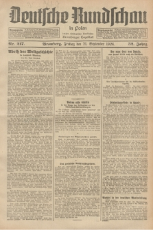Deutsche Rundschau in Polen : früher Ostdeutsche Rundschau, Bromberger Tageblatt. Jg.52, Nr. 217 (21 September 1928) + dod.